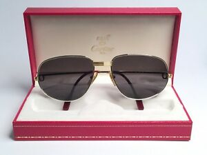 669dedf207 VTG NEW CARTIER VENDOME PLATINUM ROMANCE 58MM GREY LENSES SUNGLASSES ...