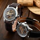 New Classic Skeleton Automatic Mechanical Leather Sport Military Wrist Men Watch