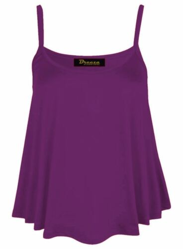 New Womens Plain Swing Vest Sleeveless Top Strappy Cami Ladies Plus Size Flared