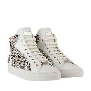 4614ed55e1 Philipp Plein The Brick Walls Leather High Top Sneakers White/Silver ...