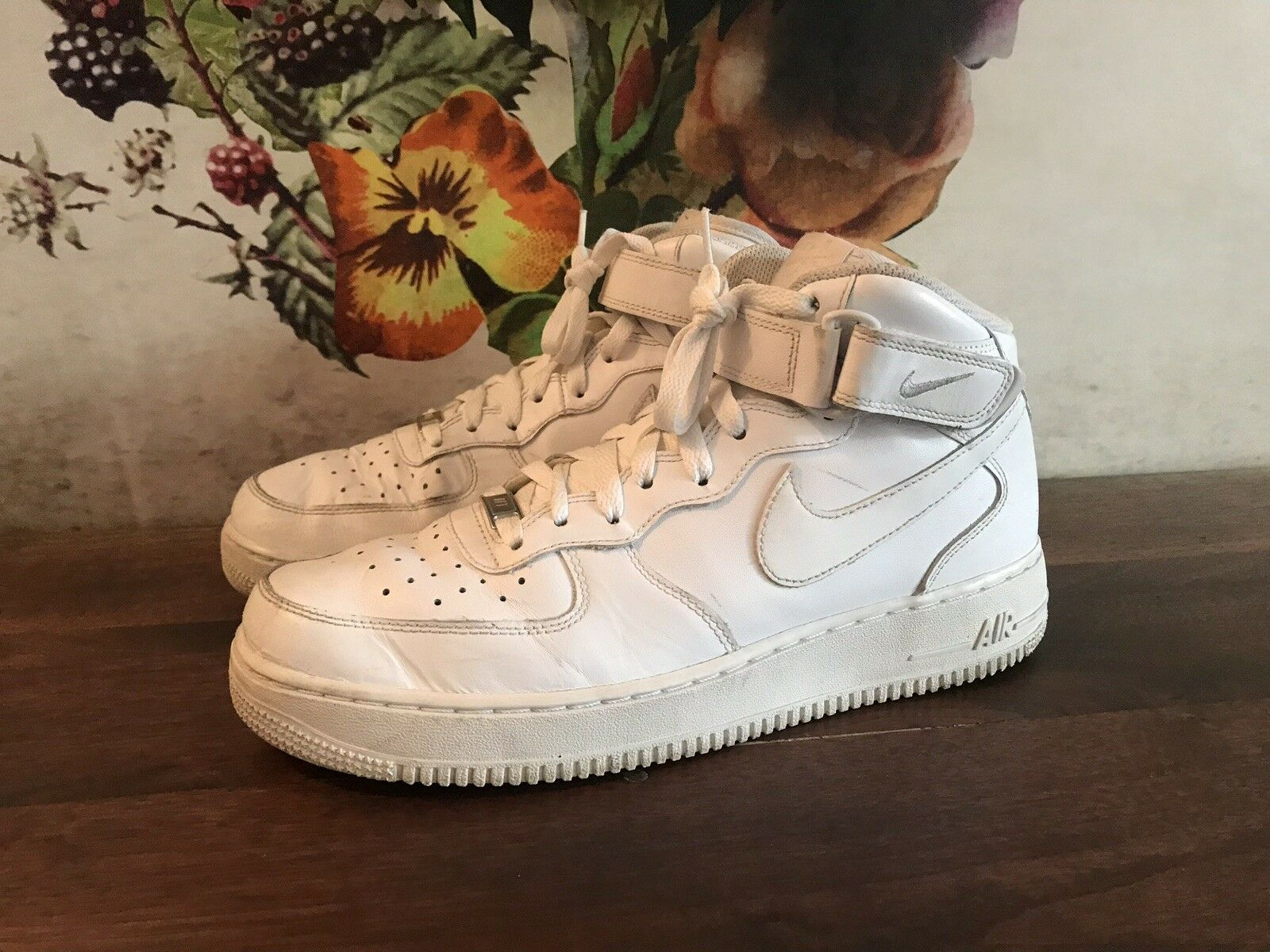 Nike Air Force 1 High Top Triple White AF1 US Men Size 10 Sneakers Velcro Strap