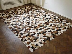 NEW-COWHIDE-PATCHWORK-RUG-LEATHER-CARPET-cu-515