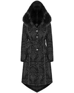 Punk-Rave-Womens-Gothic-Hooded-Winter-Coat-Jacket-Black-Velvet-Damask-Faux-Fur