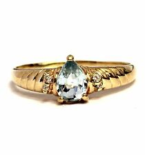 14k yellow gold womens .02ct diamond blue topaz ring ladies 2.7g estate vintage