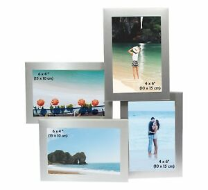 Brushed-Aluminium-Satin-Silver-Multi-Photo-Picture-Frame-DIFFERENT-STYLES