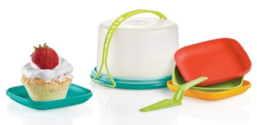 Tupperware Kids Mini Party Serving Set Cake Taker Plates /& Pie Cutter