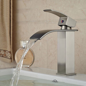 Brushed-Nickel-Bathroom-Faucet-Waterfall-Faucets-Single-Handle-Brass-Bath-Basin