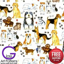 Dog Fused Glass Decal Ceramic Waterslide Fusing Sheet 8.5 inch Square Lead Free