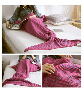 Mermaid-Tail-Handmade-Crocheted-Cocoon-Sofa-Beach-Quilt-Rug-Knit-Lapghan-Blanket