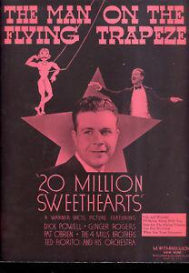 "Antiquarische Noten/songbooks 20 Million Sweethearts Notenblatt "" Man On Flying Trapez "" Dick Powell"