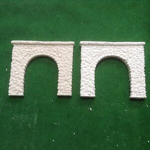 2 X Single Track N Scale Tunnels Pebble Stone Style- Unpainted Set- Single Track