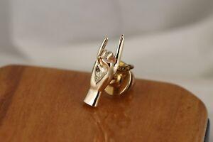 UT-University-of-Texas-Hook-039-em-Horns-Tie-Tack-Lapel-Pin-14kt-Gold