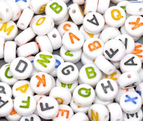 500 Acrylperlen Buchstaben A-Z Spacer Beads zum Schmuck herstellen Basteln 7mm