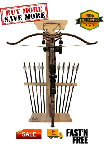 Real tree Crossbow and 10 Arrow Bow Rack Extra Large Pegs 4 Minute Assembly