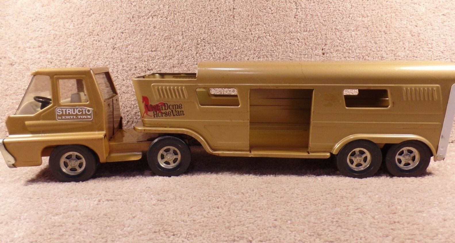 1960's ERTL Toys Structo Pressed Steel Vista-Dome Horse Van Trailer And Semi