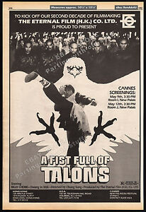 A-FISTFUL-OF-TALONS-Original-1983-Trade-AD-promo-poster-BILLY-CHONG-Hu-ying