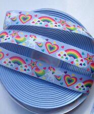"""2m Unicorn Rainbows Star Heart Cloud - Grosgrain Ribbon 22mm 7/8"""" hair bow craft"""
