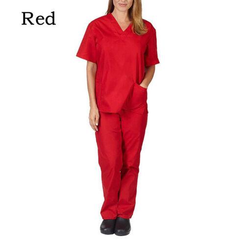 Details about  /2PCS Men Women Short Sleeve V-neck Tops+Pants Nursing Working Uniform Set Suit C