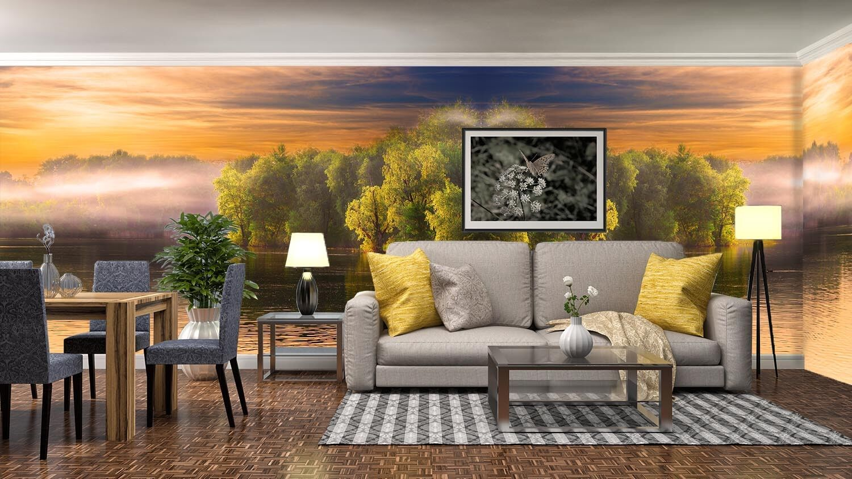 3D Sunset Lake Tree 9 Wall Paper Murals Wall Print Wall Wallpaper Mural AU Lemon