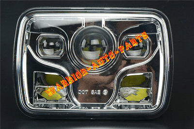 """2x 7x6/"""" LED Built In CREE Bulb Seal Beam High Low Beam Headlight Assembly Chrome"""