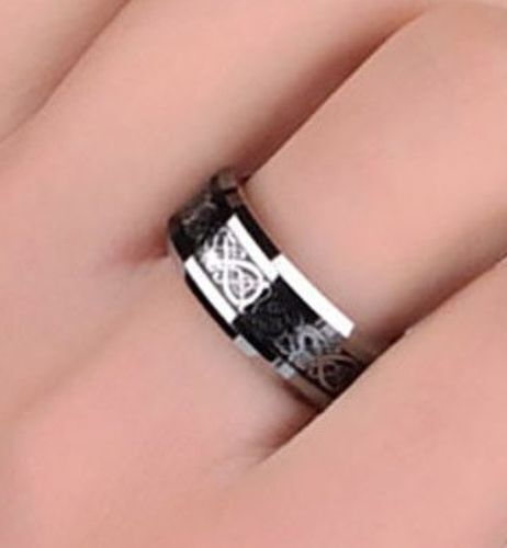 Celtic Knot Black Dragon Silver Scroll Ring Sz 7 TITANIUM Solid Band USA SELLER