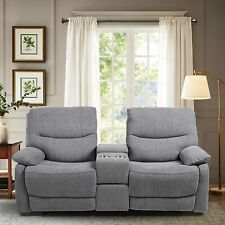 Modern Double Loveseat Recliner Fabric Reclining Couch Sofa w/ Drawer Cup Holder
