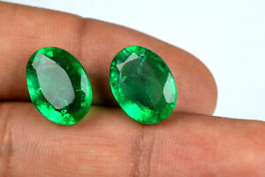 Oval-Muzo-Colombian-Emerald-Collection-Pair-100-Natural-13-15-Ct-AGSL-Certified