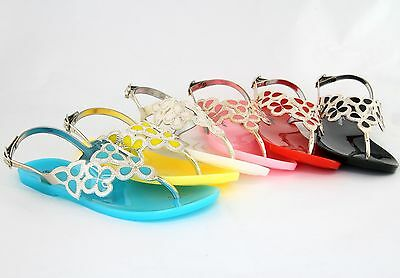 Women Jelly Flip Flops Sandals Leaf Design Colorful Shoes Newest Fashion