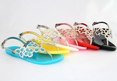 Women Jelly Flip Flops Sandals Leaf Design Colorful Shoes Newest Fashion