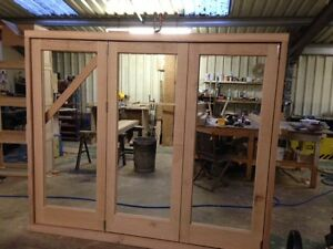Image is loading Solid-Oak-Hardwood-Bi-Folding-Doors-Bifold-Brio- & Solid Oak Hardwood Bi Folding Doors Bifold Brio Weather fold Running ...