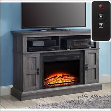 Electric Fireplace TV Stand Entertainment Center Weathered Gray w Remote Control