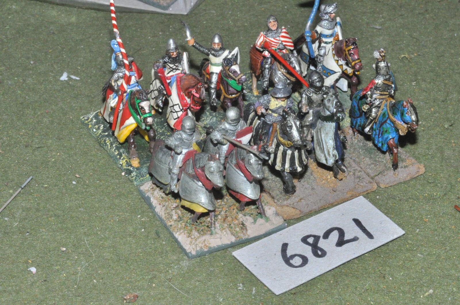 25mm medieval   generic - knights 10 cavalry metal painted - cav (6821)