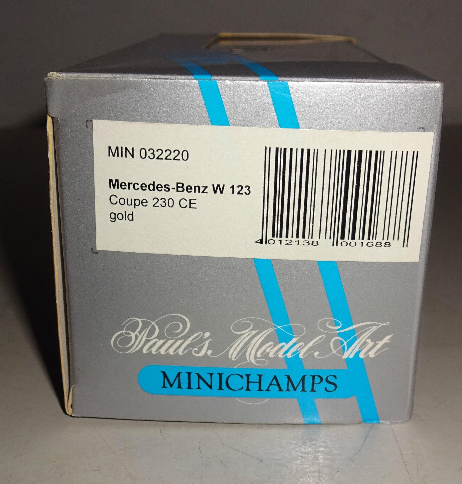 Mercedes-Benz W 123 Coupé 230 230 230 Ce Métallique or Minichamps 1:43   Le Roi De La Quantité  f15514