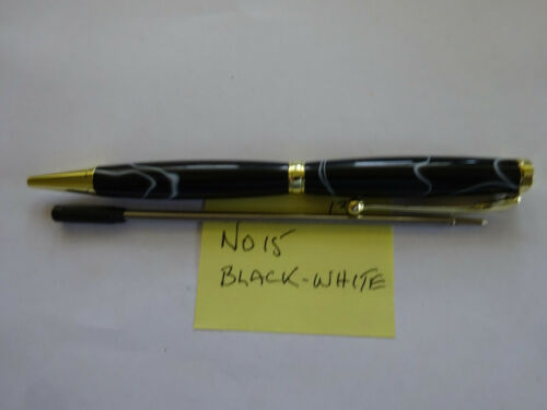 HAND MADE ACRYLIC PENS BLACK /& WHITE NO15 with spare refill