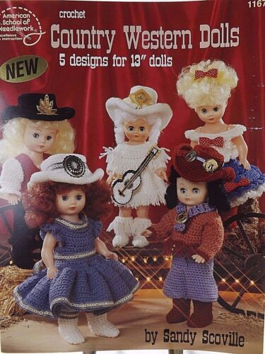 "ASN Country Western Doll Outfits 5 Designs For 13"" Dolls To Crochet Pattern"