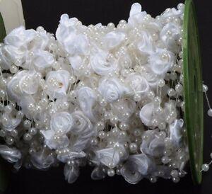 1m-weisse-Girlande-mit-Perlen-und-Seidenblumen-Hochzeit-Deko