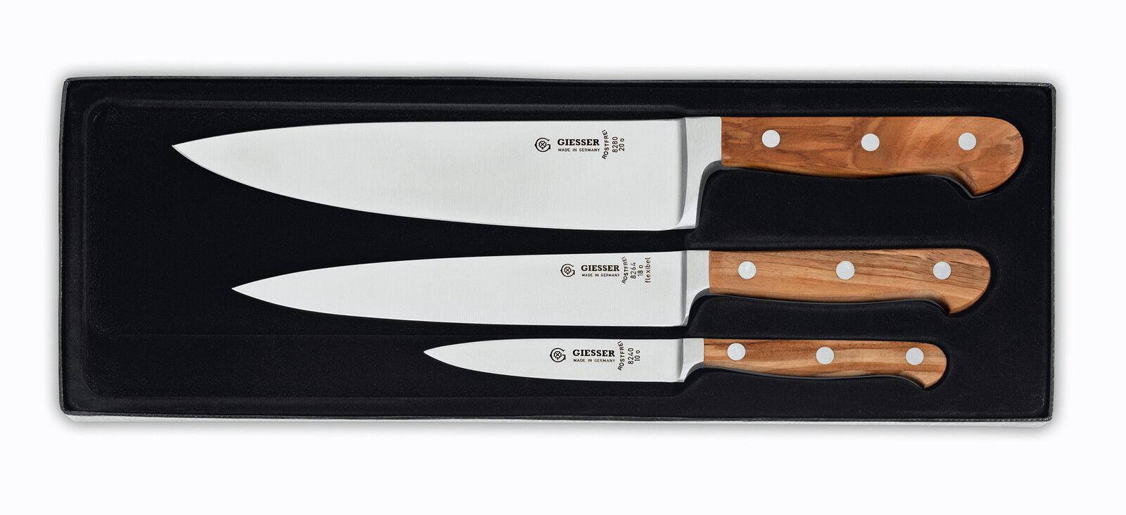 GIESSER MESSER KOCHMESSER SET OLIVENHOLZ Filiermesser Officemesser 9840 Knife