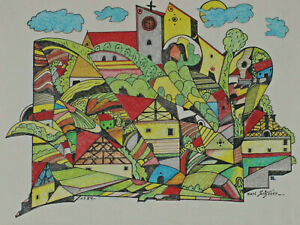 Signed Karl Scherer Dated 1984 - Surreal The Village