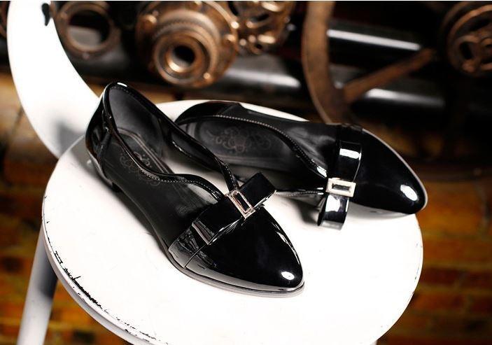 Ballerines mocassins chaussures pour femmes pan de la terre noir talon 1 cm
