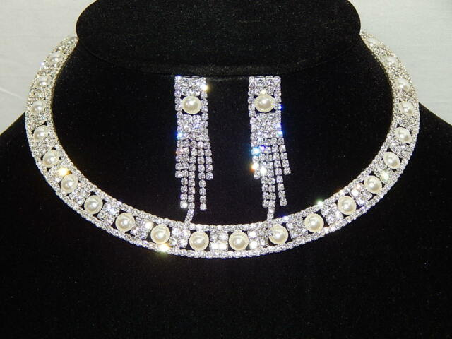 FLEXIBLE SILVER RHINESTONE & IVORY PEARL CHOKER NECKLACE, EARRINGS SET