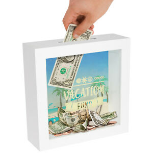 Americanflat Decorative Shadow Box Frame Vacation Fund White Wood 6 x 6 inch