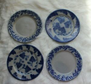 4-SALMON-FALLS-STONEWARE-PENNSYLVANIA-FLOWER-amp-BLUEBERRY-VINE-Pottery-8-034-Plates