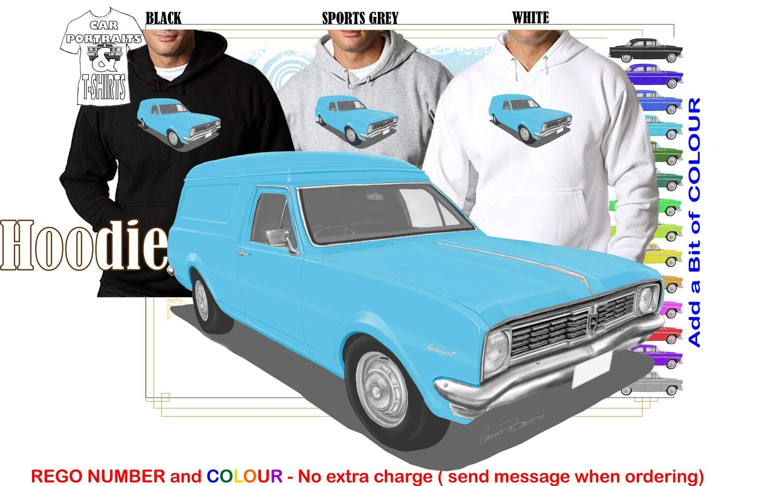 69-70 HT HOLDEN VAN HOODIE ILLUSTRATED CLASSIC RETRO MUSCLE SPORTS CAR