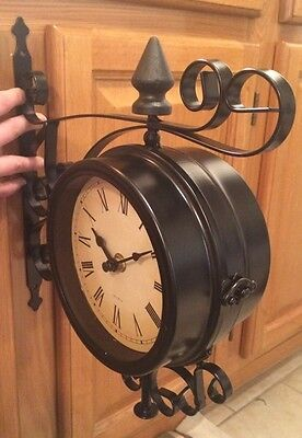 train station clock double sided bracket large roman wall clocks indoor outdoor
