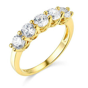 2 Ct Round Solid 14k Yellow Gold 5-Stone Trellis Wedding Anniversary Band Ring