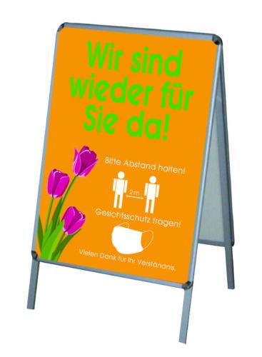 2x PVC-Poster//Plakat-Druck DIN A1 wetterfest für Kundenstopper Corona Geöffnet-8