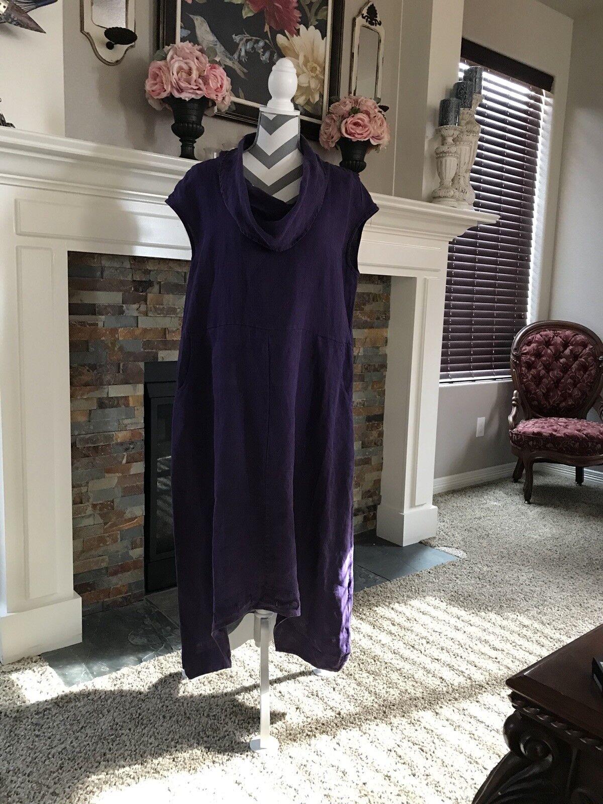 Bryn promänader LINEN tunic DRESS lös designer lila sz MEDIUM ny  168