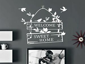 Wd sticker mural welcome sweet home muraux déco chambre intérieur