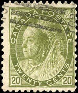 Used-Canada-1900-20c-F-Scott-84-Queen-Victoria-Numeral-Issue-Stamp