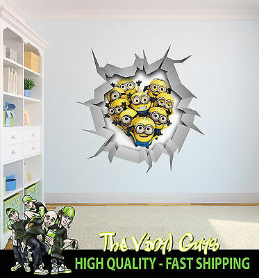 DESPICABLE ME MINIONS WALL CRACK wall art vinyl decor 001 Printed decal Sticker